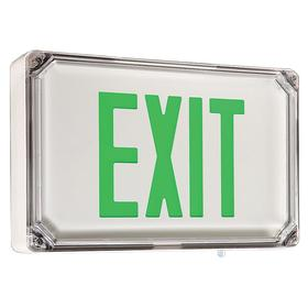 Hubbell Wet Location Lighted Exit Sign: Aluminum, 2 Faces, Green, Batteries Required, Batteries Incl, Universal