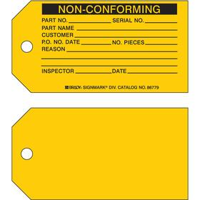 Brady Inspection Tag: 3 in Overall Ht, 5 3/4 in Overall Wd, Cardstock, Non-Conforming, Chamfered Corners/Durable, 100 PK