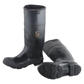 Easy On & Off Protective Rubber Boot: Waterproof, D Shoe Wd, 10 Men's Size, Men, Plain, 16 in Shoe Ht, PVC, Black, 1 PR