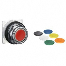 Schneider Electric Emergency Stop Push Button Operator: Mushroom Operator, Non-Illuminated, Momentary, Black/Red/Green/Yellow/Orange/Blue/White, Metal