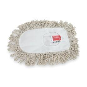 Dust Mop Head: Slip On, Cut End, 11 in Lg, 6 in Wd, Washable Cotton, White, Polyester, For 1TZG1, 10 Ply Count, Wedge