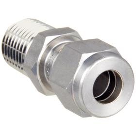 Ham-Let Stainless Steel Instrumentation Tube Connector: Male, 3/8 in Port 1 Tube Size, -425° F Min Op Temp, 25/64 in Tube Size