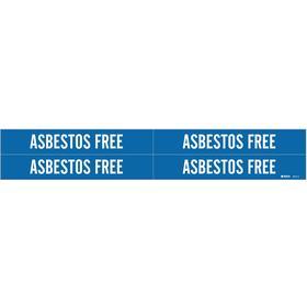 Brady Self-Adhesive Pipe Marker: Asbestos Free, White, Blue, 1 1/8 in Label Ht, 7 in Label Wd, 3/4 in Min Pipe OD, 4 PK
