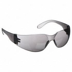 Safety Glasses: Frameless Frame, Gray, Scratch Resistant, ANSI Z87.1-2010