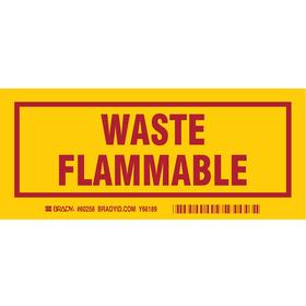 Brady Hazardous Waste Label: Polyester, Waste Flammable, English, 71 Haz Material Indicator, Indoor or Outdoor, 25 PK