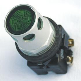 Eaton Illuminated Push Button: 12 A @ 600V AC Contact Rating, Half Guard Operator, 1NO/1NC Pole-Throw Configuration, Green, Silver