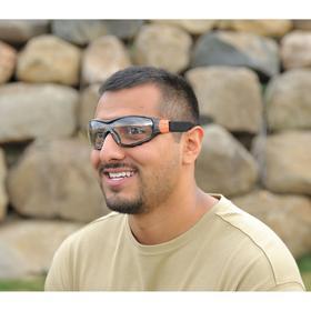 Elvex Safety Glasses: Clear, Full Frame, Anti-Fog, Black/Gray, ANSI Z87.1-2010 (+)/CE EN-166, Polycarbonate
