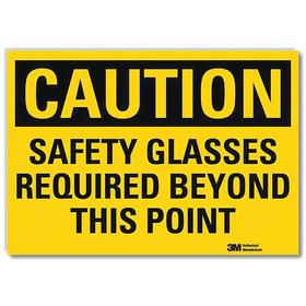 Personal Protective Equipment Sign: Caution, 10 in Overall Ht, 14 in Overall Wd, Vinyl, Self-Adhesive