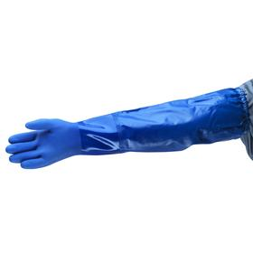 Ansell VersaTouch Glove: Blue, Extended Sleeve Cuff, X-Large Size, PVC, Smooth, Left/Right Pr, Lining, 10 # Size, 1 PR