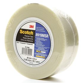 3M Scotch 8919MSR Packaging Tape: Polyester Backing, Hot Melt Adhesive, Glass Yarn Reinforcement Method, Clear Backing