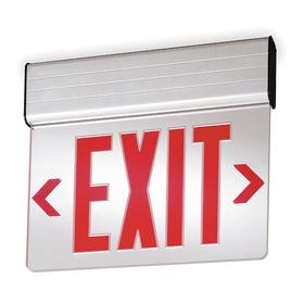 Acuity Lithonia Lighted Exit Sign: 2 Faces, Directional Indicators, Red, 13 1/4 in Overall Ht, 17 3/8 in Overall Lg, Aluminum