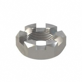 """Slotted Hex Nut: Steel, Plain, Grade 5 Material Grade, 1 1/4""""-12 Thread Size, 1 7/8 in Wd, 23/32 in Ht, 5 PK"""