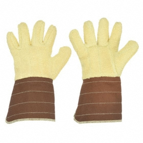 Flame-Resistant Glove: Fabric Glove, 450° F Max Temp, Gauntlet Cuff, 13 in Glove Lg, Kevlar, Brown/Yellow, 1 PR