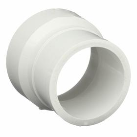 PVC Pipe Adapter: Cl No Hub, DWV Hub, Adapter Fitting Type, 4 Pipe Size (Port 1), Female, White, 4 Pipe Size, DWV