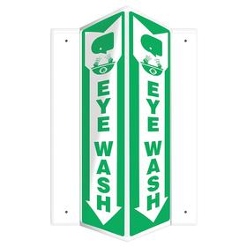 Emergency Eyewash Sign: Eye Wash, Three Way, 18 in Overall Ht, 7 1/2 in Overall Wd, Plastic, Mounting Holes