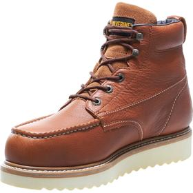 Wolverine Leather Work Boot: Men, Steel, 6 in Shoe Ht, Full Grain Leather, Brown, Compression/Electrical Hazard/Impact, Electrical Hazard Rated, 1 PR