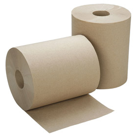 Paper Towels: Roll, Brown, Hard Roll, For Universal, 8 in Roll Wd, 7 in Roll Dia, 600 ft Roll Lg, 2 in Core Dia, 12 PK