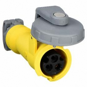 Hubbell IEC Non-Metallic Watertight Pin & Sleeve Connector: Single Phase, 3 Contacts, 60 Hz Volt Freq, 20 A Current, 120V AC