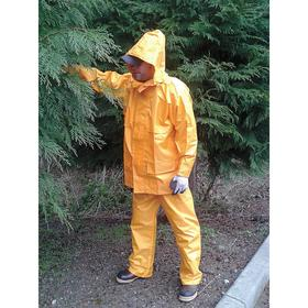 Viking Rain Jacket: Polyester, Yellow, Hook & Loop Storm Flap/Zipper, Men, Detachable Hood, 32 in Overall Lg, S Size