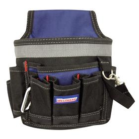 Tool Pouch: Polyester, 6 Pockets, 6 Compartments, For 3 1/4 in Max Belt Wd, 3 1/4 in Max Belt Wd, 8 3/4 in Overall Ht