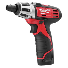 Milwaukee Cordless Screwdriver: 12V, 175 in-lb Max Working Torque, 450/1,700 RPM, 1/4 in Drive Size, Hex, Battery Incl