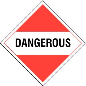 Stranco DOT Vehicle Placard: Dangerous, 10 3/4 in Overall Ht, 10 3/4 in Overall Wd, Tagboard, Red/White, 10 PK