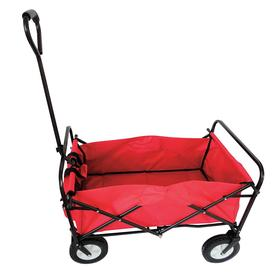 Folding Wagon Truck: 150 lb Max Load Capacity, D-Handle, Solid Rubber, 31 in Deck Lg, 20 in Deck Wd, 11 in Deck Ht, Red