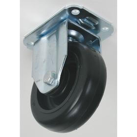 Plate Caster: 3 in Wheel Dia, Rigid, Black, Polyolefin, Extra-Hard Relative Tread Hardness, Delrin, 1 1/4 in Wheel Wd, D