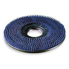 Floor Cleaning Pad Holder: Short Trim Pad Holder, 18 in Block Dia, For 19 in Machine Size, 1/2 in Bristle Lg, Blue
