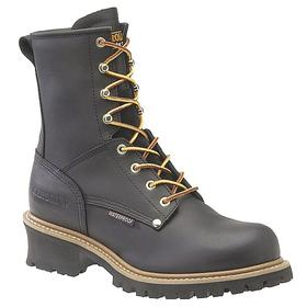 Carolina Leather Work Boot: Men, Steel, 8 in Shoe Ht, Black, Waterproof, Electrical Hazard Rated, 9 Men's Size, Lace Up, 1 PR