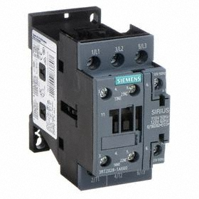 Siemens IEC Contactor: 3 Poles, Single/Three Phase, 38 A Current Rating, 1NC/1NO Auxiliary Contact Pole-Throw Configuration, Screw Terminal