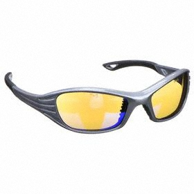 Safety Glasses: Full Frame, Blue, Scratch Resistant, Silver, ANSI Z87.1-2010
