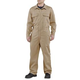 Flame Resistant Traditional Twill Coverall: NFPA 2112, 44 Regular Size, 2 Hazard Risk Category (HRC), Cotton Twill, Tan