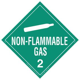 DOT Vehicle Placard: Non-Flammable Gas 2, 10 3/4 in Overall Ht, 14 1/3 in Overall Wd, Tagboard, Green