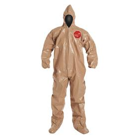 DuPont Coveralls: Tychem 5000, Tan, Zipper, Attached Hood, Elastic, Taped Seam, 3X-Large Size, Tychem, Closed, Front, 6 PK