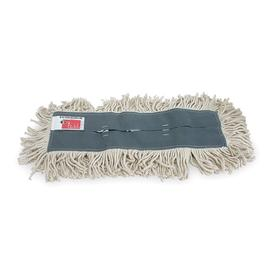 Dust Mop Head: Cut End, White, Lightweight Cotton, Slip On, 36 in Lg, 5 in Wd