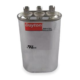 Motor Dual Run Capacitor: Oval, 370V AC, 35 uF/4 uF Capacitance, 4 1/8 in Case Ht, 4 5/8 in Overall Ht