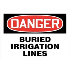 Buried Irrigation Sign: Danger, 7 in Overall Ht, 10 in Overall Wd, Aluminum, Mounting Holes