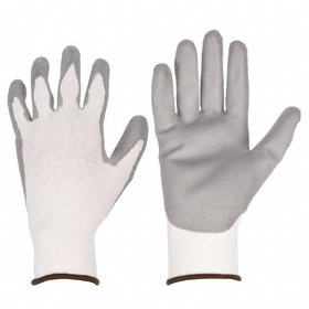 Work Glove: Coated Fabric Glove, L Size, ANSI Cut-Resist Level 2, Knit Cuff, Nylon, Polyurethane, Gray/White, 1 PR