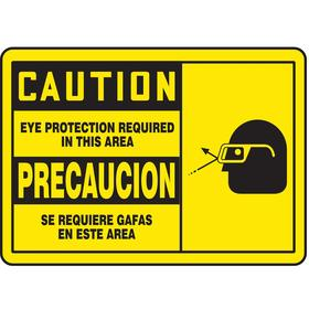 Accuform Personal Protective Equipment Sign: 7 in Overall Ht, 10 in Overall Wd, Vinyl, Self-Adhesive, Caution/Precaución