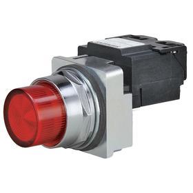 Siemens Pilot Light Complete Unit: 480V AC, Transformer, Red, For 6 V AC, Includes Bulb, For LED, Chrome, Zinc Die Cast