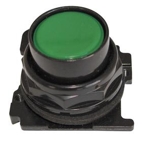 Eaton Push Button Operator: Non-Illuminated, Flush Operator, Momentary, Green, 30 mm Operator Dia, Silver, Metal