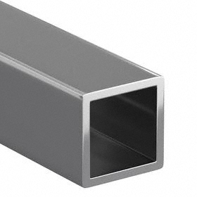 304 Stainless Steel Rectangular Tube: 1 1/2 in Wd, ASTM A554, Unpolished, 1 1/2 in Ht, 0.12 in Wall Thickness, 6 ft Lg