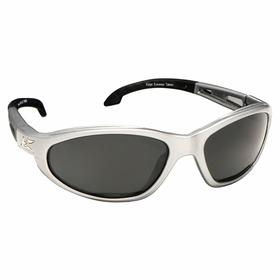 Edge Safety Glasses: Gray, Full Frame, Scratch Resistant, Silver, ANSI Z87.1+2015/MCEPS GL-PD 10-12, Nylon