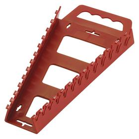 Wrench Rack: 12 5/8 in Lg, 6 1/4 in Wd, 1 1/2 in Dp, 13 Slots, Plastic, Red
