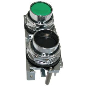 Eaton Multi-Head Push Button Switch: 30 mm Panel Cutout Dia, 2 Operators, Non-Illuminated, No Legend, Maintained, Round, Silver