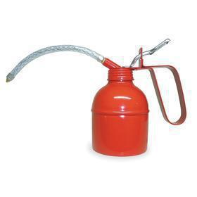 Pump Oil Can: 16 fl oz Oiler Capacity, Gen Use, Lever Handle, Flex, 7 in Spout Lg, 3 3/8 in Oiler Bowl Dia, Steel, Red