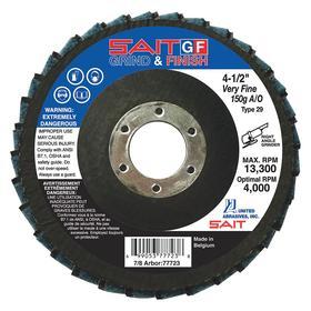 Sanding Disc: 4 1/2 in Disc Dia, 7/8 in Center Hole Dia, Aluminum Oxide, 80 Grit, 13300 RPM Max RPM, Type 29 Disc Type