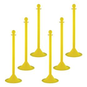 Barrier Chain Post: Yellow, Polyethylene, Tapered Base, 41 in Post Ht, 2 in Post Dia, 14 in Base Dia, 6 PK