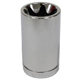 Socket: 1/2 in Drive Size, 6 Points, E24 Socket Size, 1 5/8 in Overall Lg, 1 in Bolt Clearance Dp, Chrome, Alloy Steel